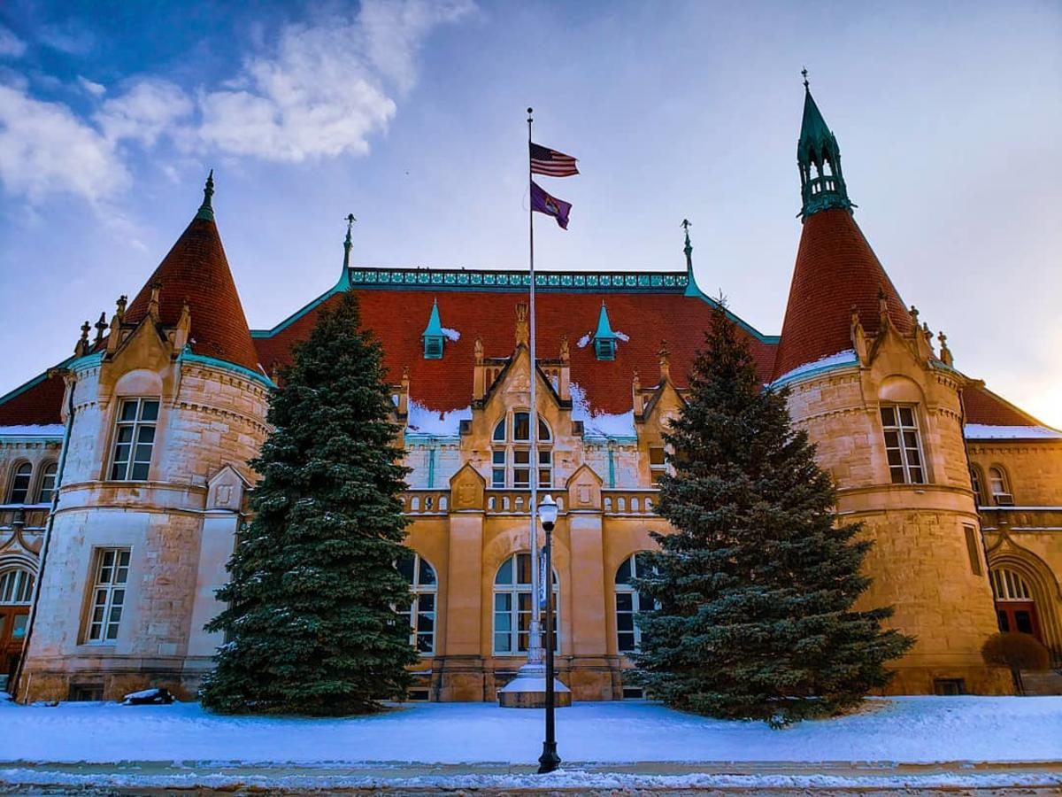 The French chateau-style Castle Museum of Saginaw County History in Saginaw, dusted in snow