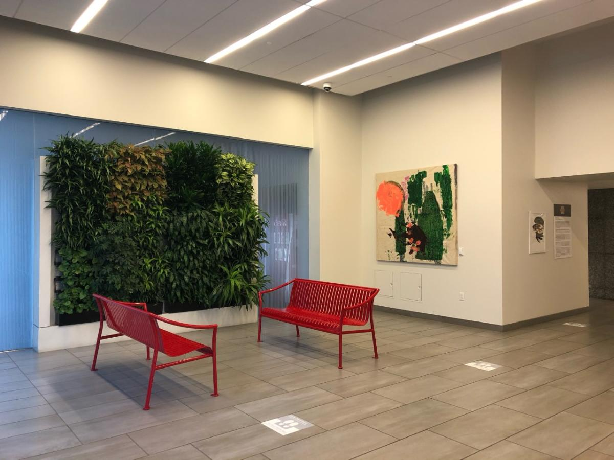 Image of colorful painting by Jonathan Paul Jackson inside the Partnership Tower in Houston.