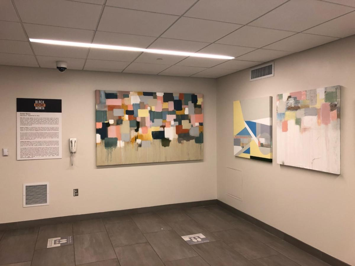 Lanecia A. Rouse paintings in exhibition in the Partnership Tower in Houston.