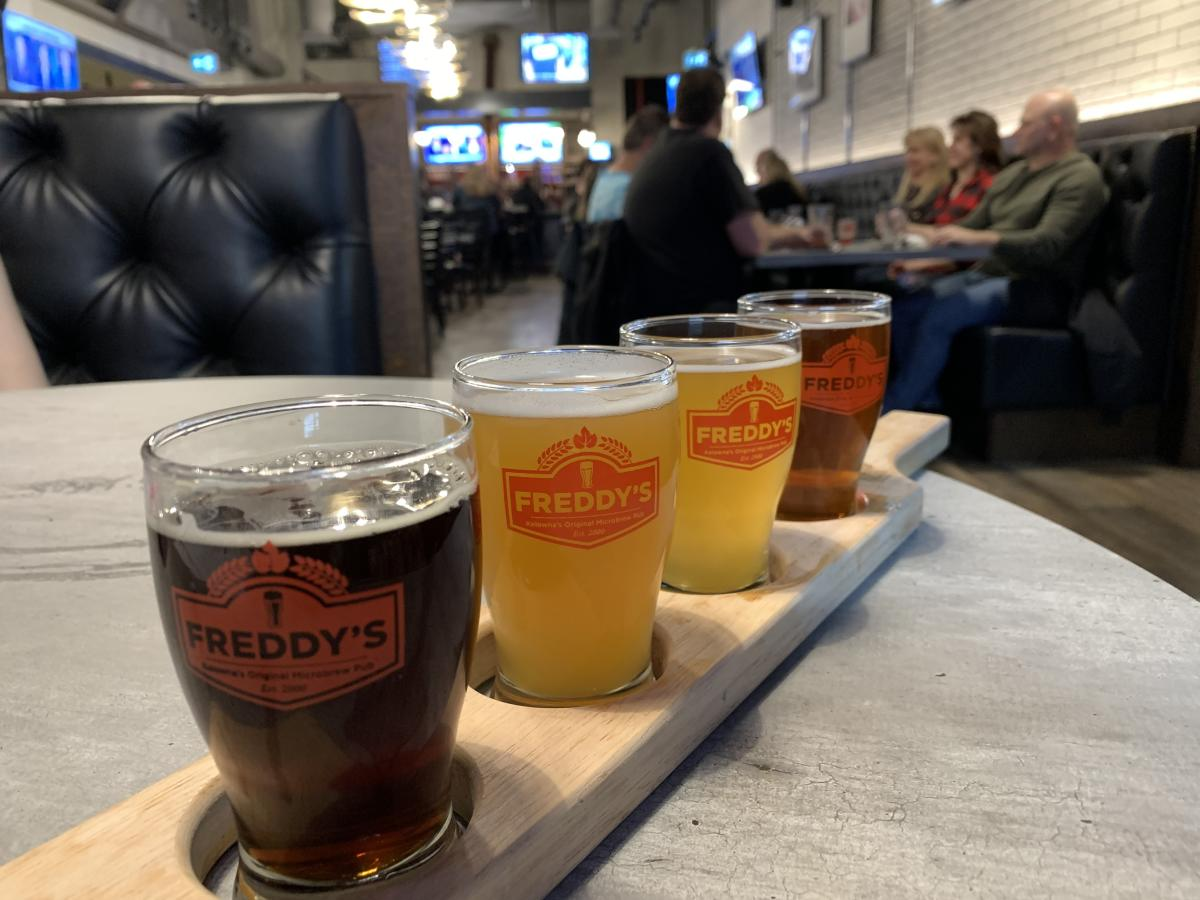 Beer Flight at Freddy's Brewpub