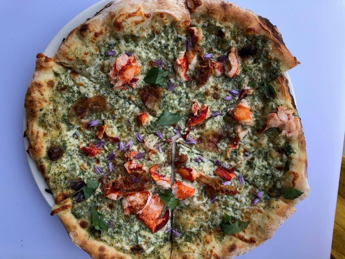 Lobster Pizza at Peak Cellar's Restaurant