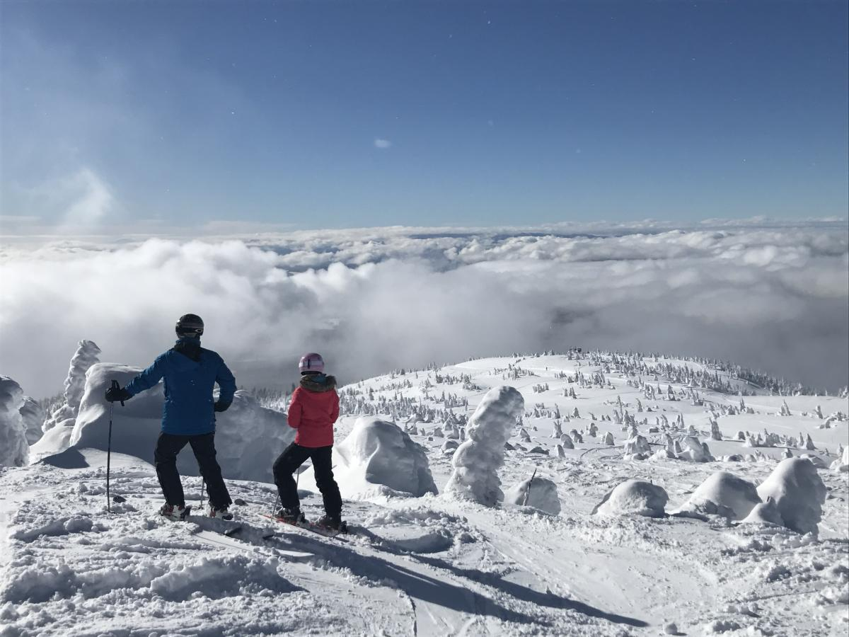 Skiing at Big White Ski Resort - View from top of mountain