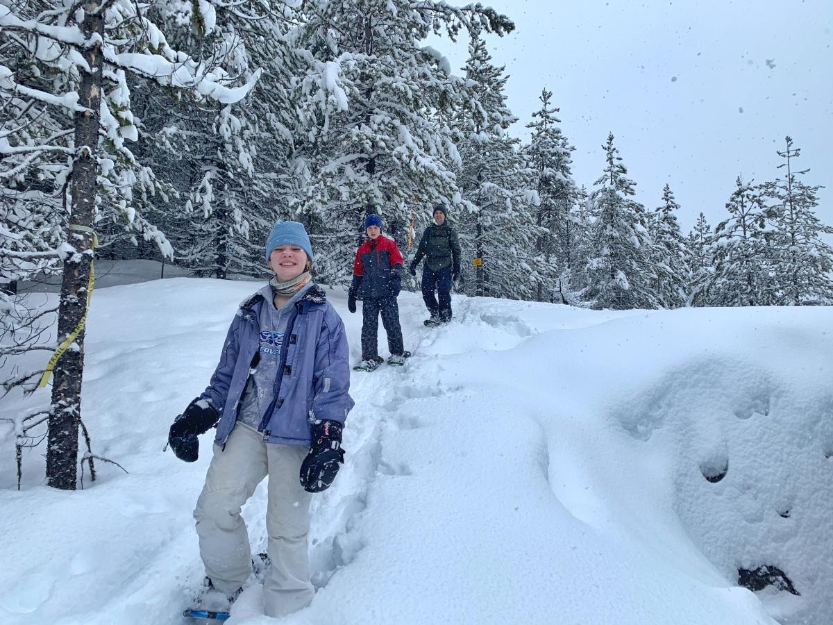 Lisa Kadane's Family Snowshoeing at Kelowna Nordic Centre