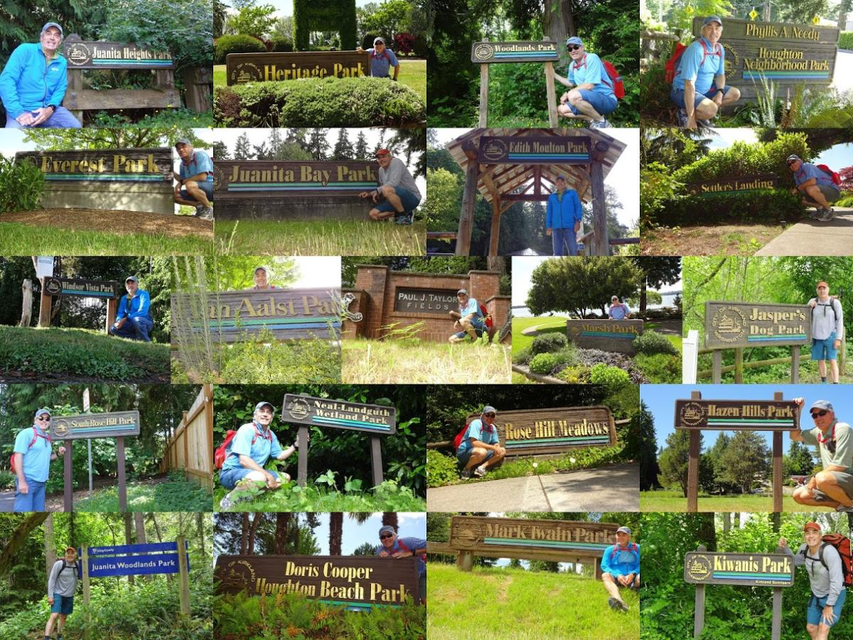 Collage of images of man at Park signs