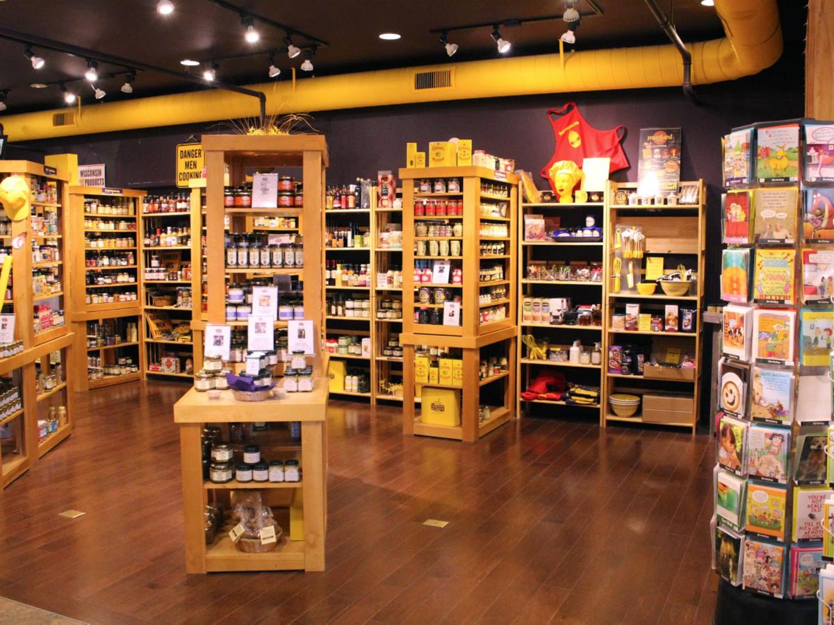 Shelves of mustard in the gift shop at the National Mustard Museum