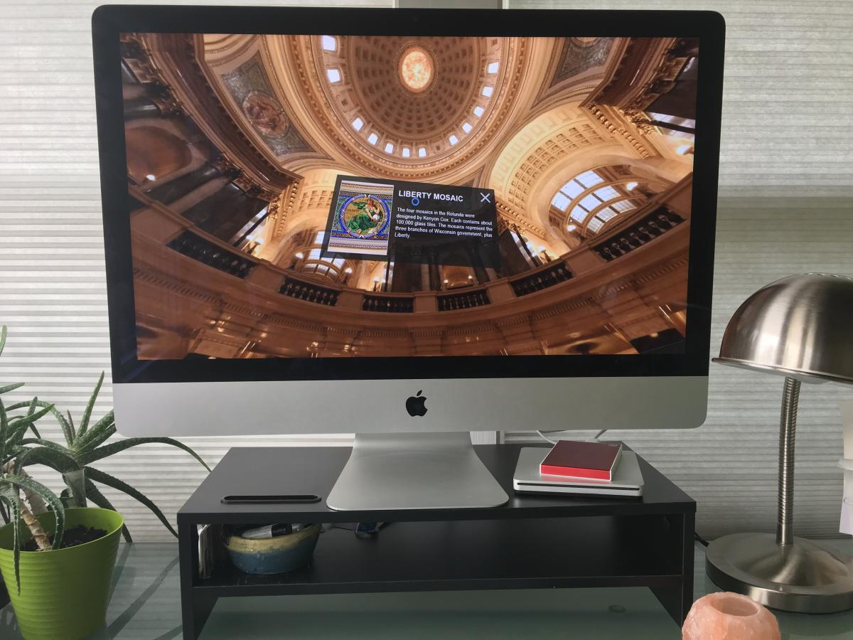 A virtual tour of the state capitol on a Mac computer screen