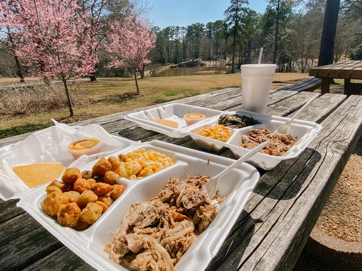 to-go food from Ms. Stella's at Lockerly Arboretum