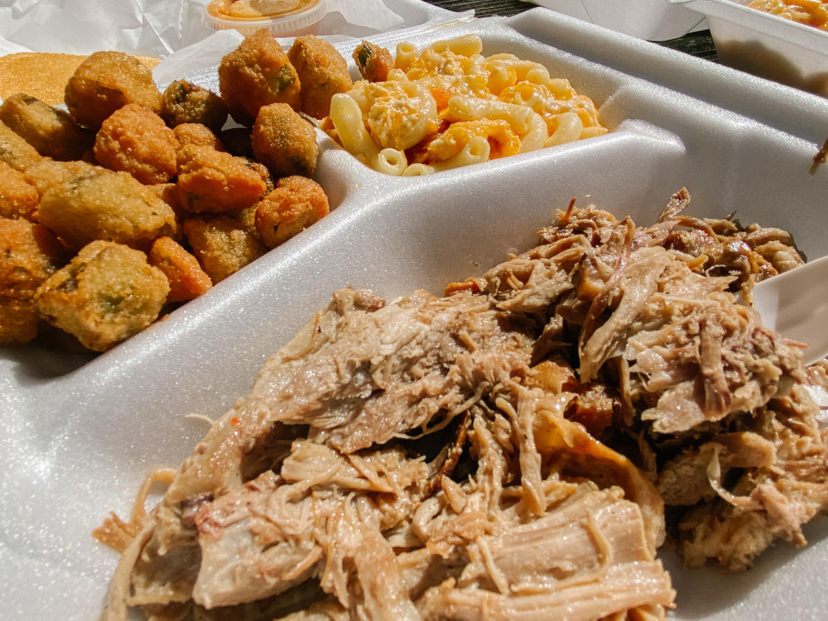 Plate of bbq pork, fried okra and macaroni and cheese from Ms. Stella's restaurant in Milledgeville