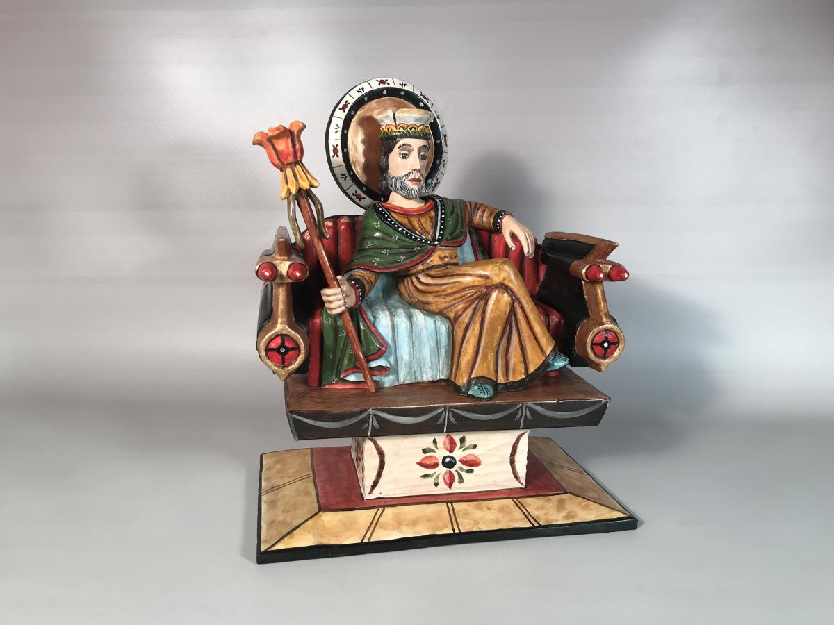 Enthroned San Jose Bulto by Gustavo Victor Goler
