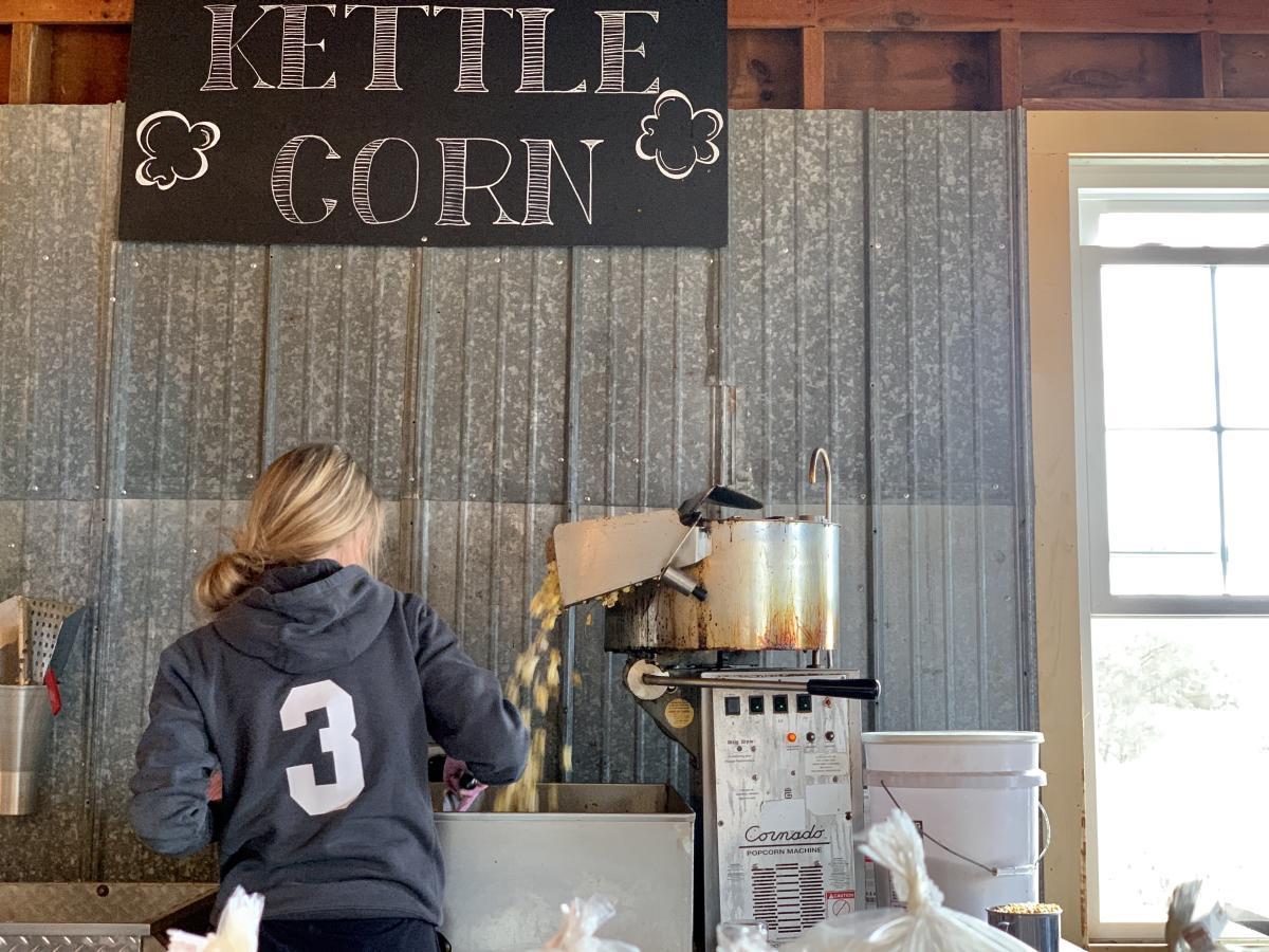 kettle corn at Skinny Bones Pumpkin Patch