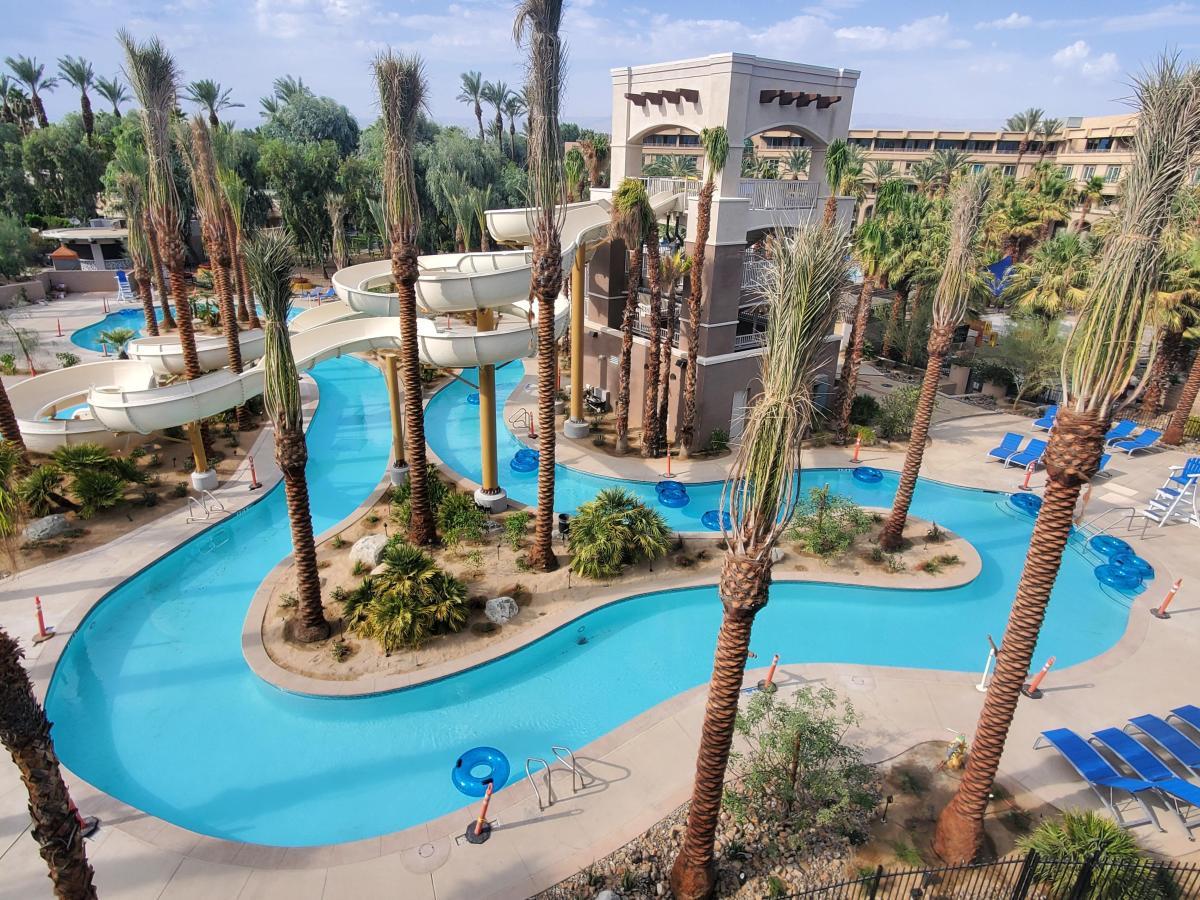 A lazy river and water slide at Hyatt Regency Indian Wells Resort & Spa