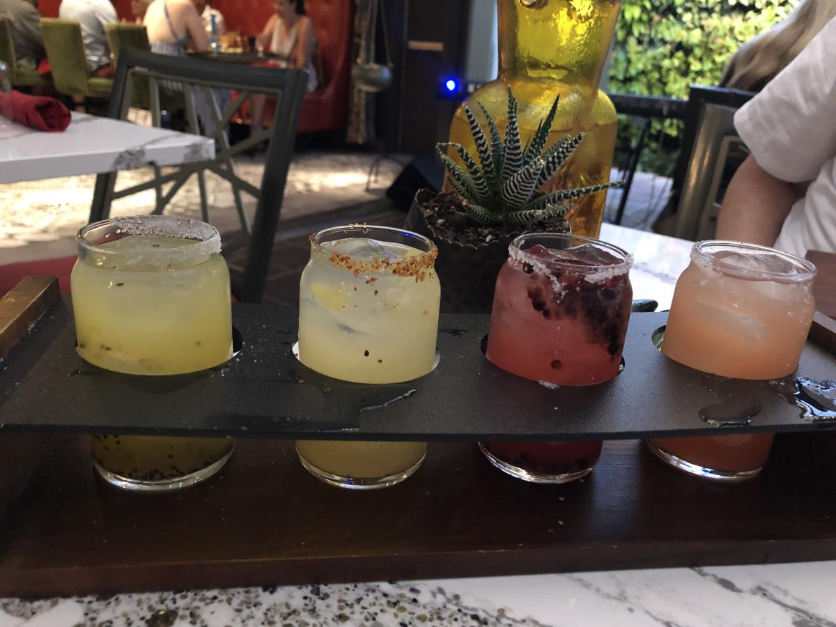 A margarita flight at Tac/Quila restaurant.