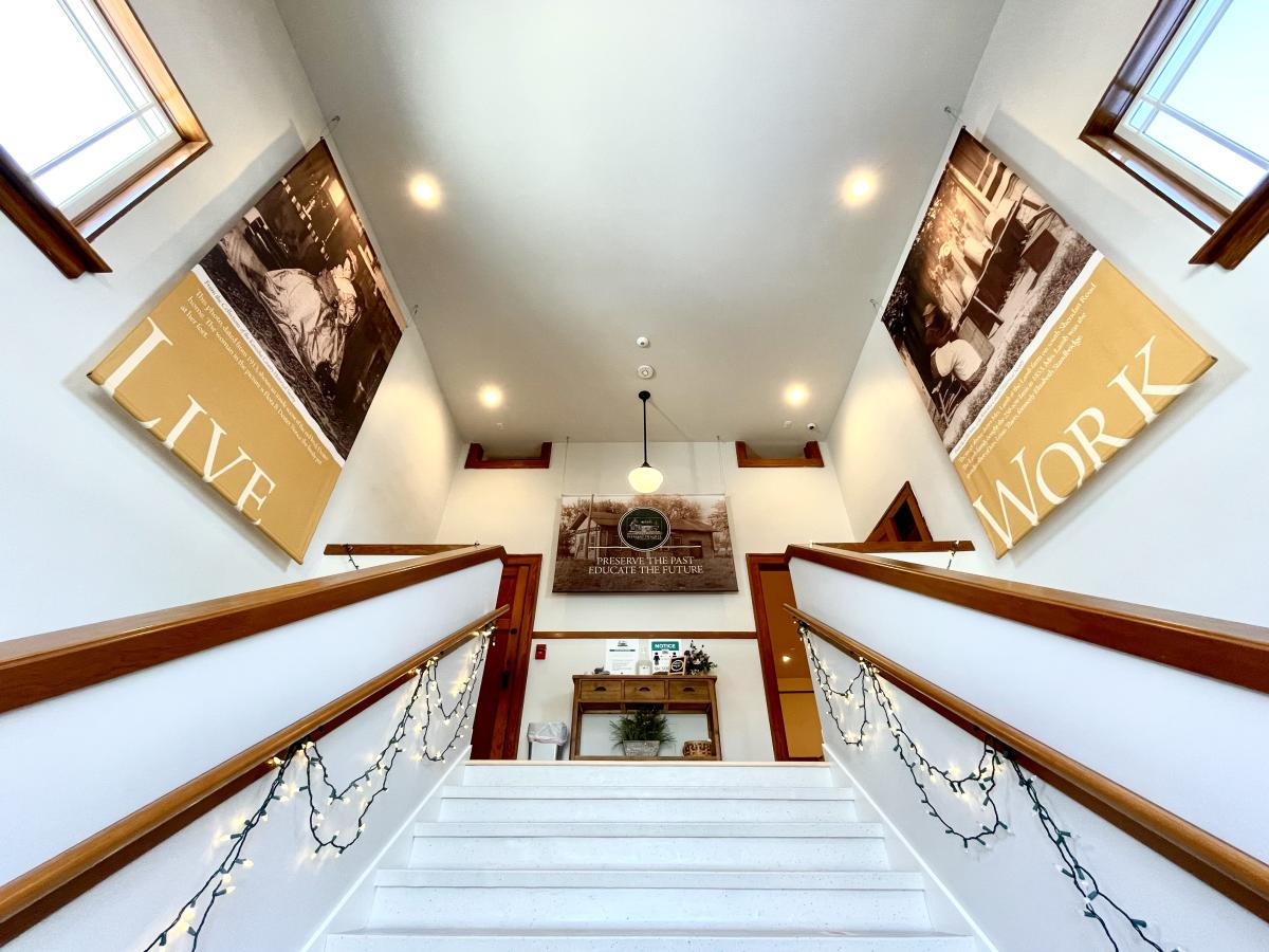 Stairwell entrance to Pleasant Prairie History Museum at Dublin School