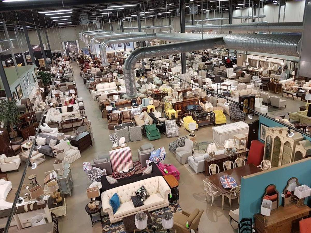aerial view of store floor of Green Front Furniture in Manassas