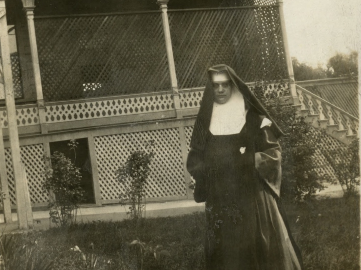 A nun at San Luis Obispo's Immaculate Heart school and convent, where Mission College Preparatory Catholic High School now stands.