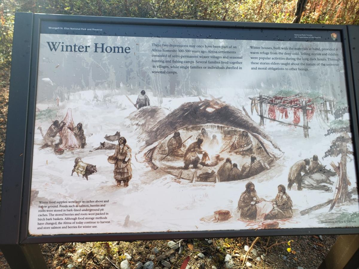 a sign from the National Park Service about Ahtna winter villages