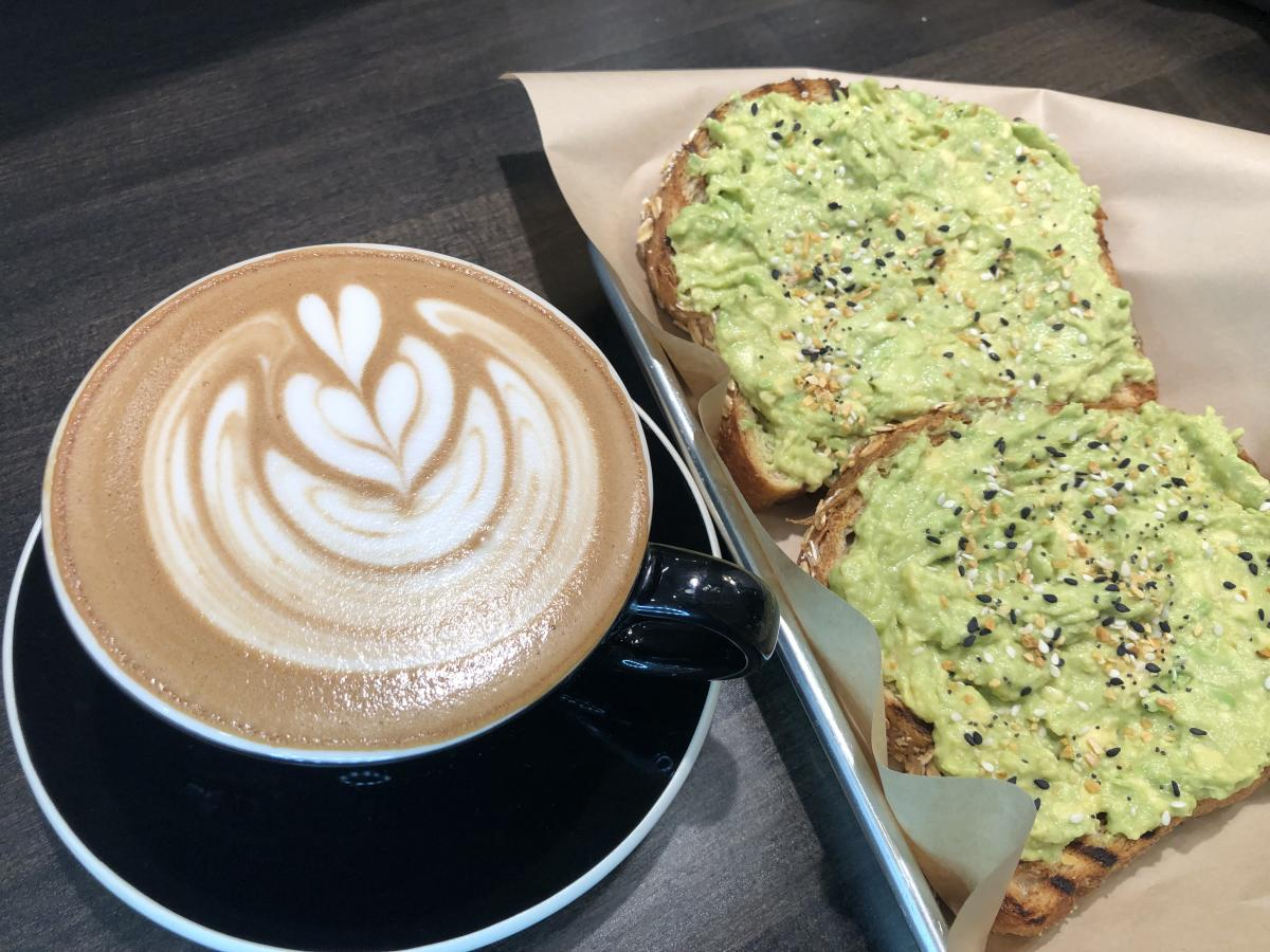Latte and Avocado Toast at Blue Door Coffee