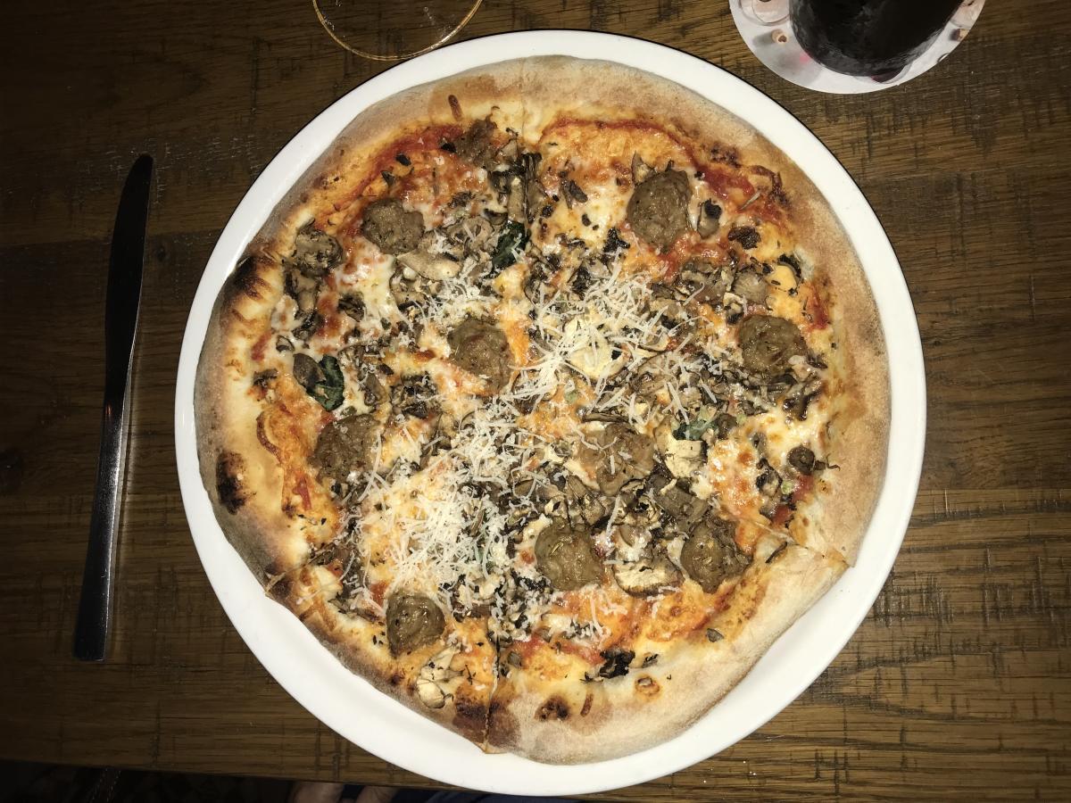 Mushroom and Sausage Pizza at California Pizza Kitchen