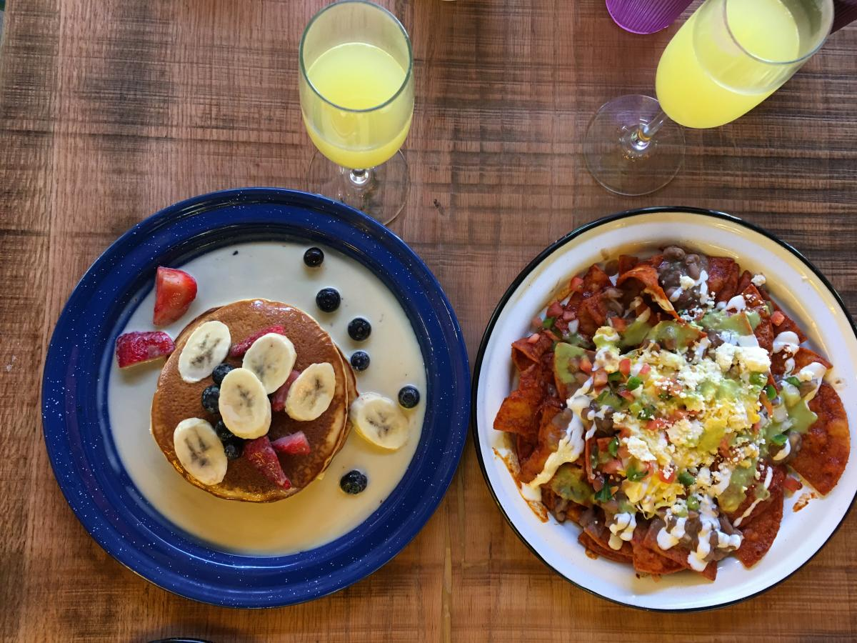 Tres Leches Pancakes and Chilaquiles with Mimosas