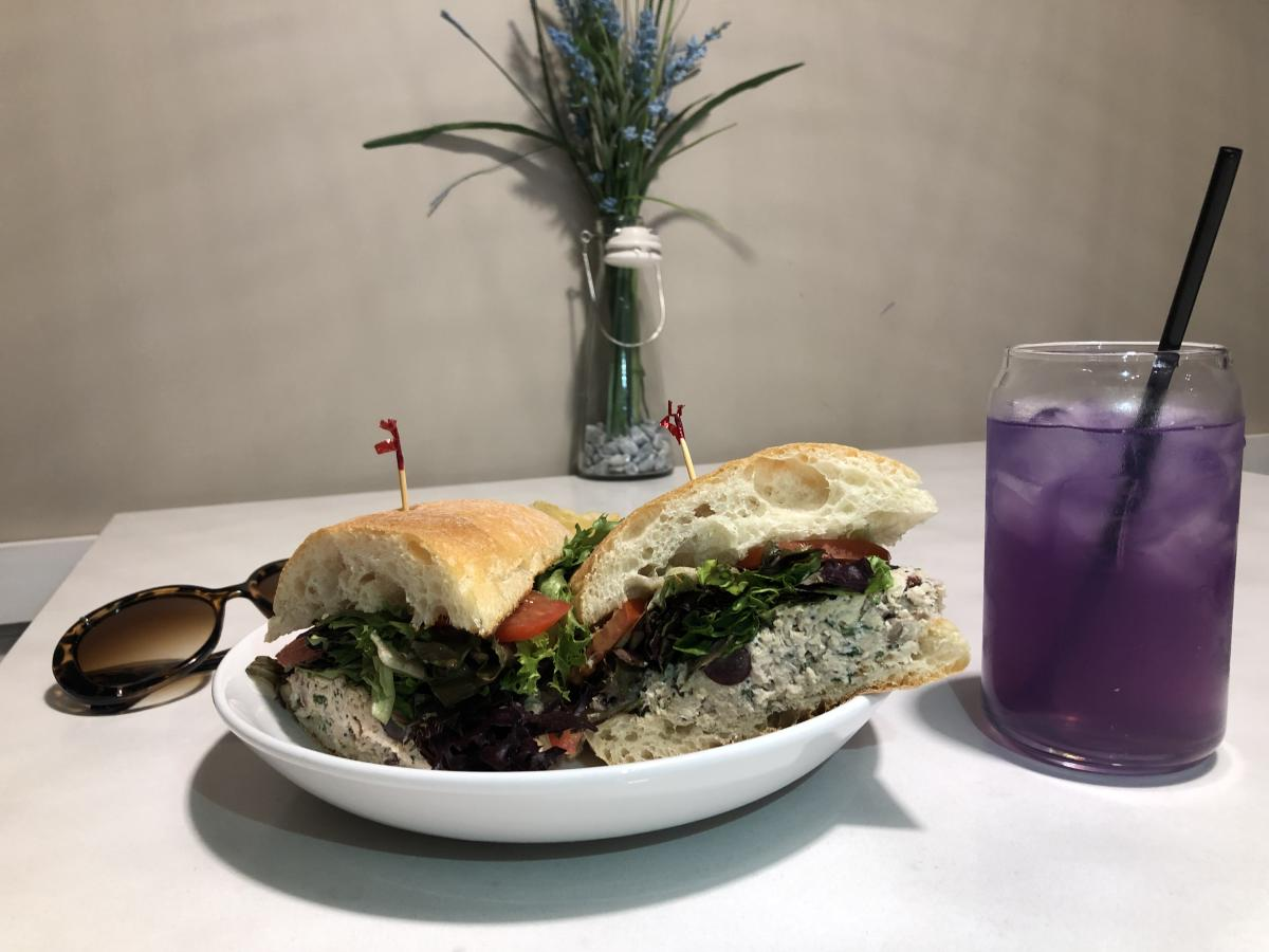 Chicken Salad Sandwich with Butterfly Tea