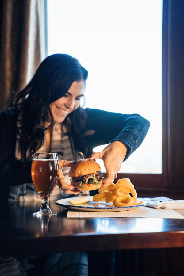 The Dining Room at Castle Hill Inn French Onion Burger