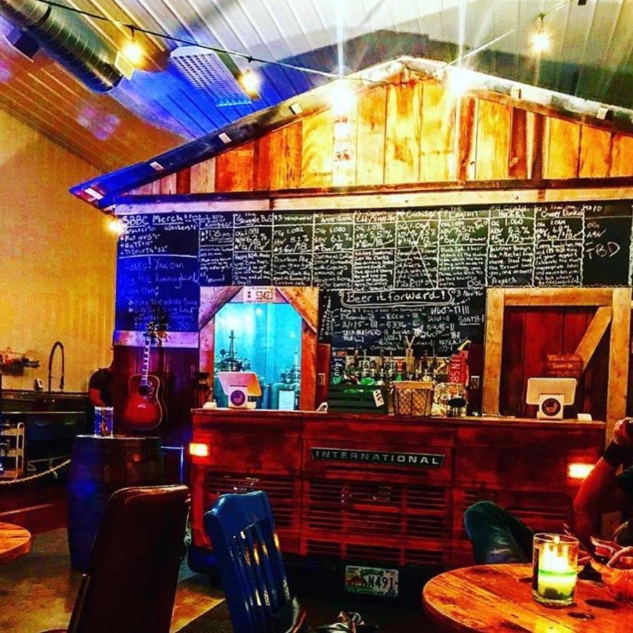 bar and menu at a small brewery