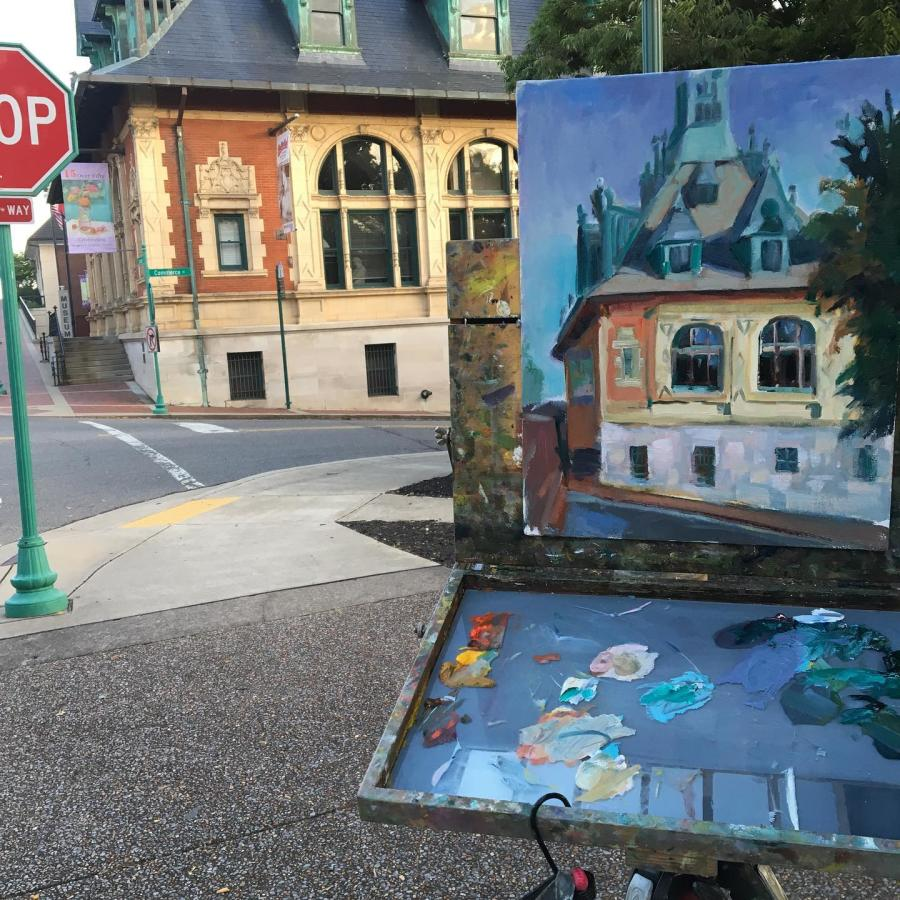 plein air painting of a historic building