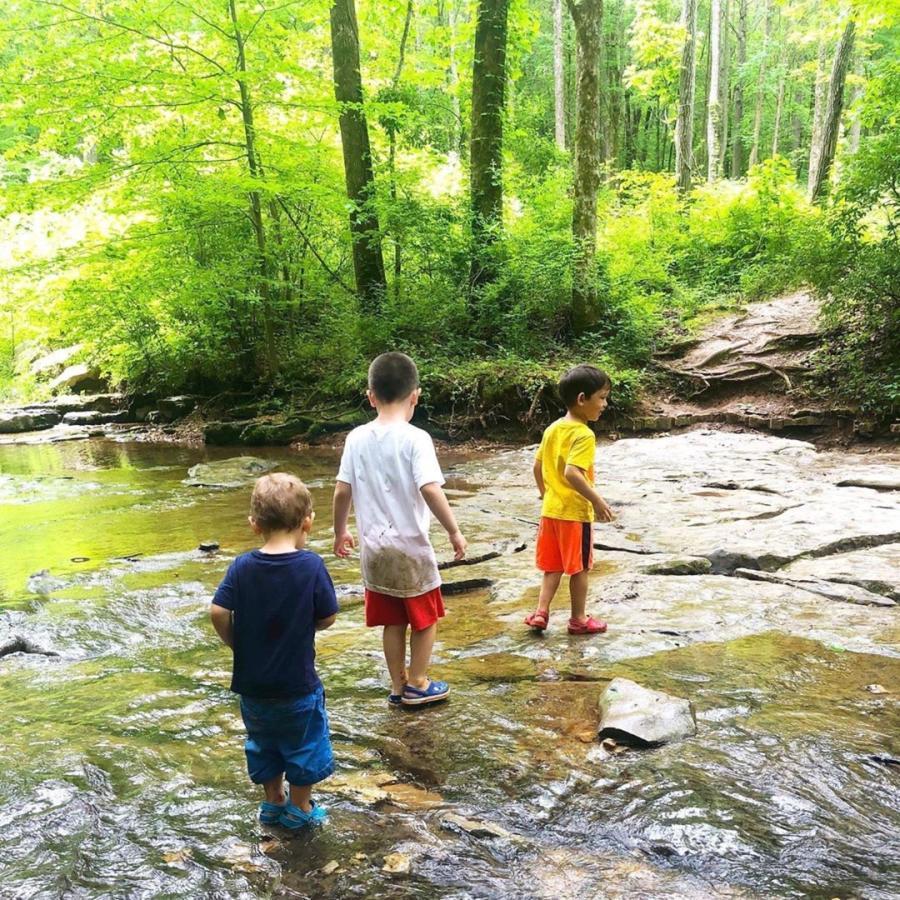 three boys in a creek