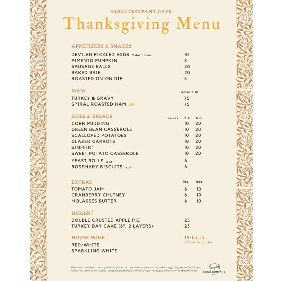 Good company Thanksgiving Menu