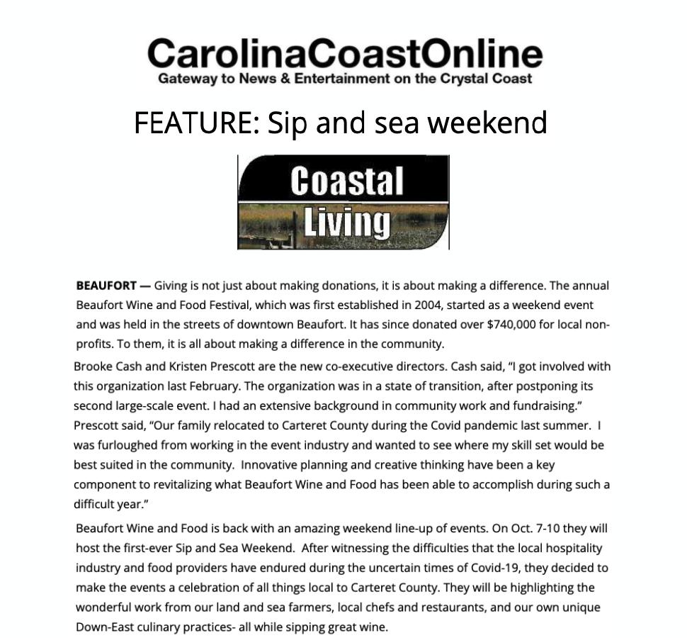 Carolina Coast Online Press Release Cover