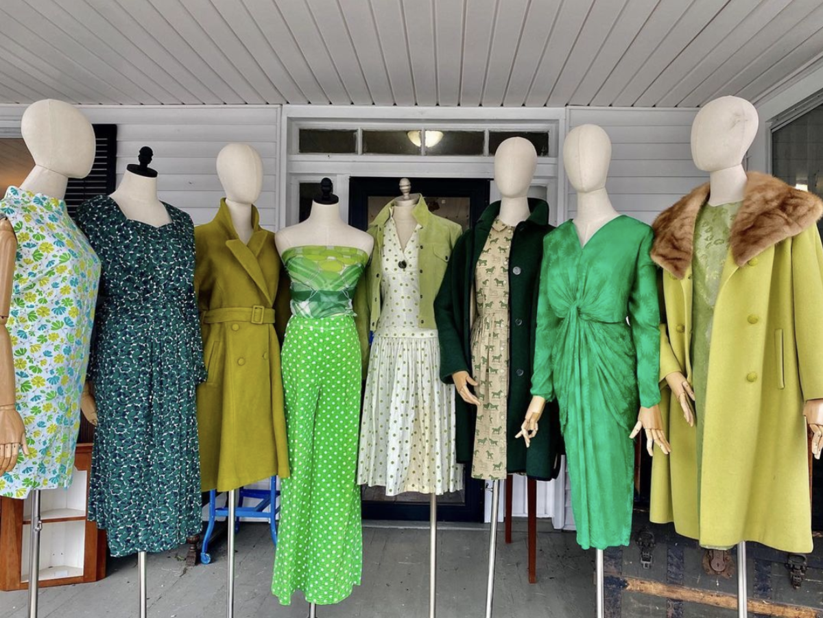 Green attire from local clothing shops in Loudoun County