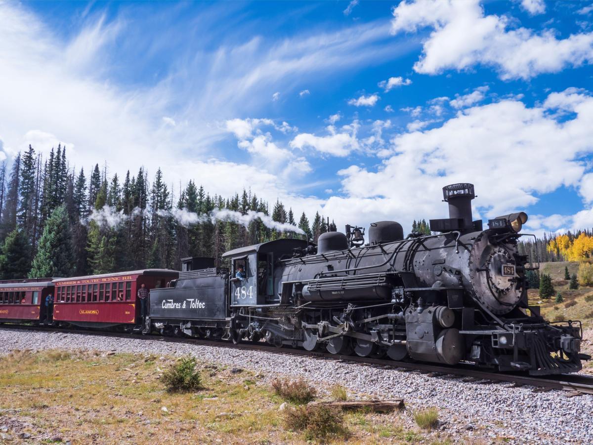 Train heads toward Los Piños, Cumbres & Toltec Scenic Railroad between Chama, New Mexico, and Antonito, Colorado