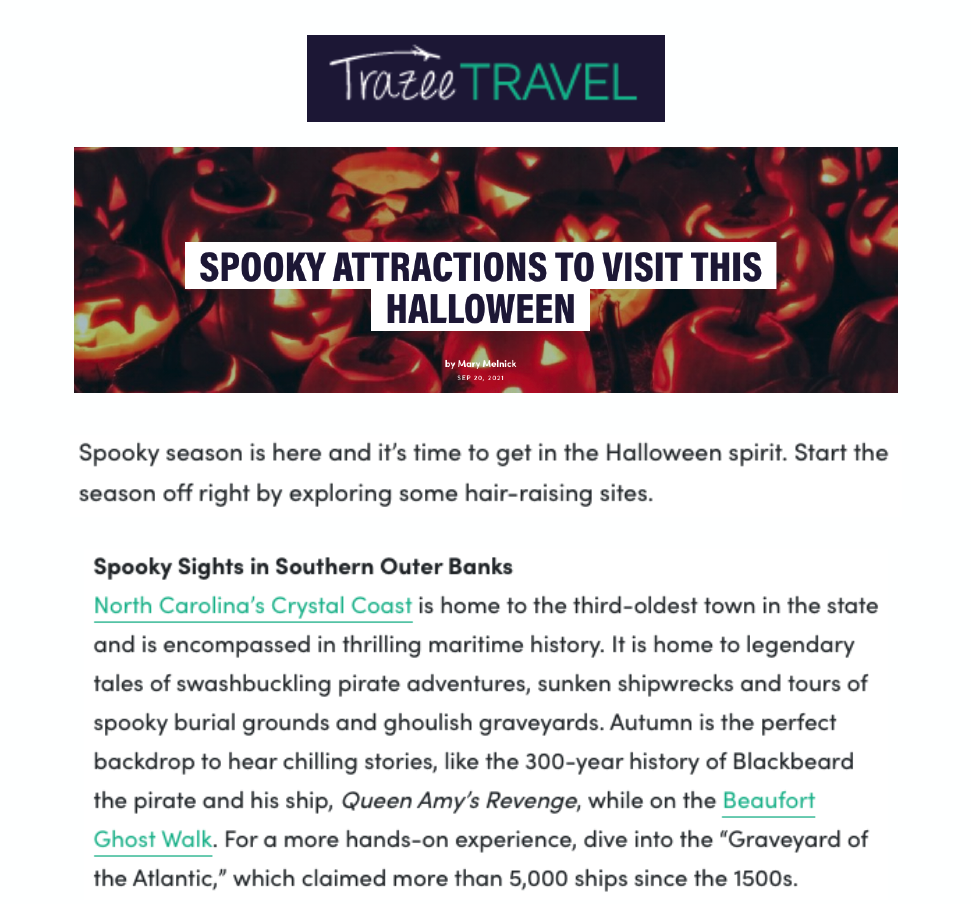 Trazee Travel Spooky Attractions Press Release Cover