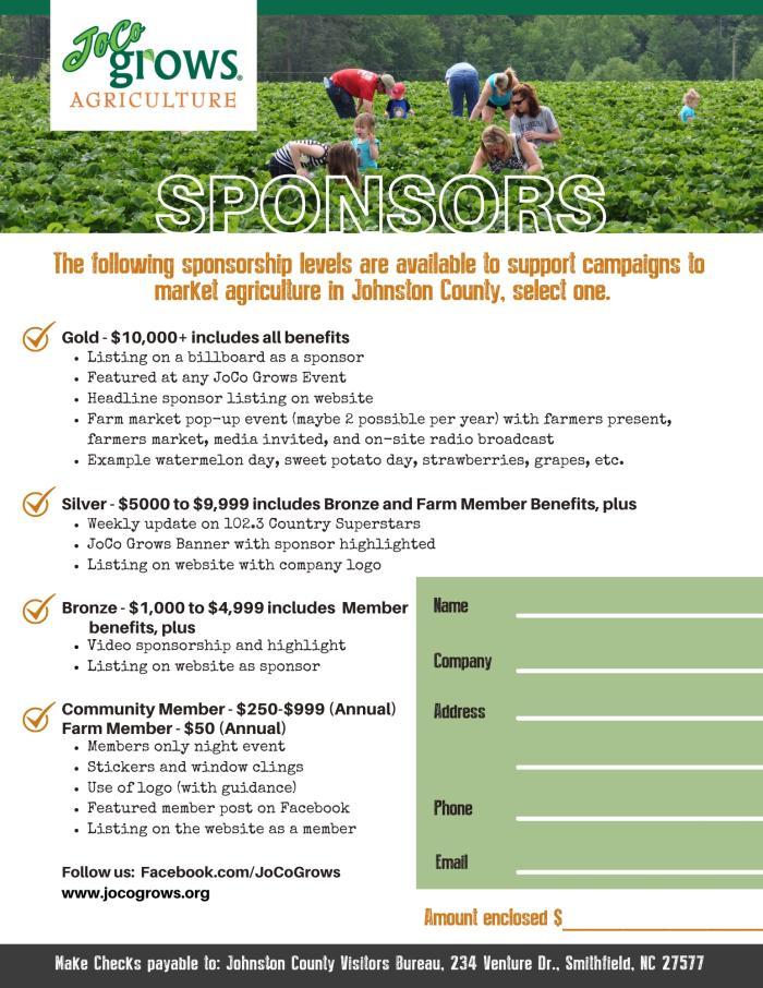 JoCo Grows Agriculture sponsor flyer.