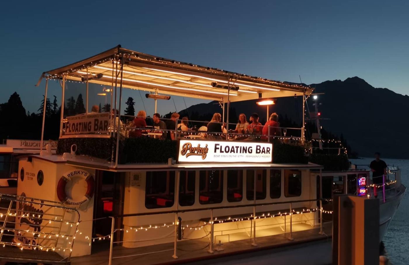 Perky's Floating Bar at night