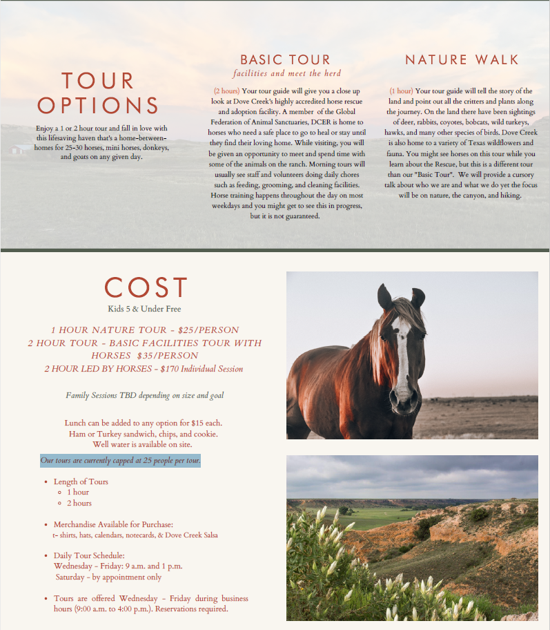 Dove Creek Equine Rescue Tour Information - click for website