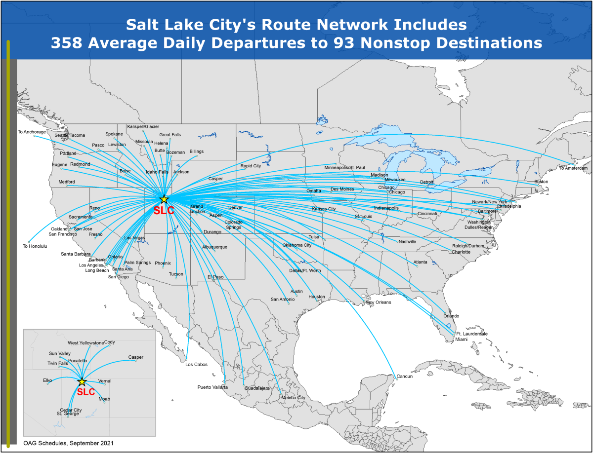 Map of Flights out of Salt Lake