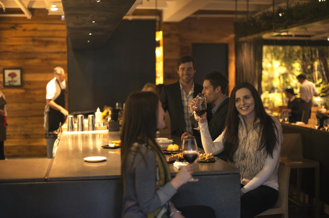 Friends dining at Rata, Queenstown