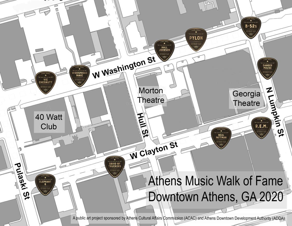 Athens Music Walk of Fame Map 2020