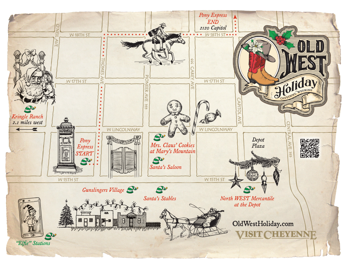 An old-time map with icons to designate the areas in downtown Cheyenne to take selfies during the holidays.