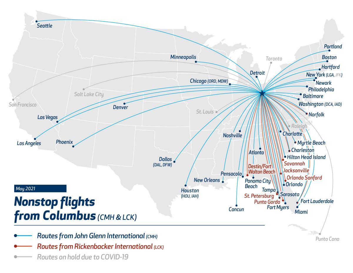 CMH-LCK Flight Map