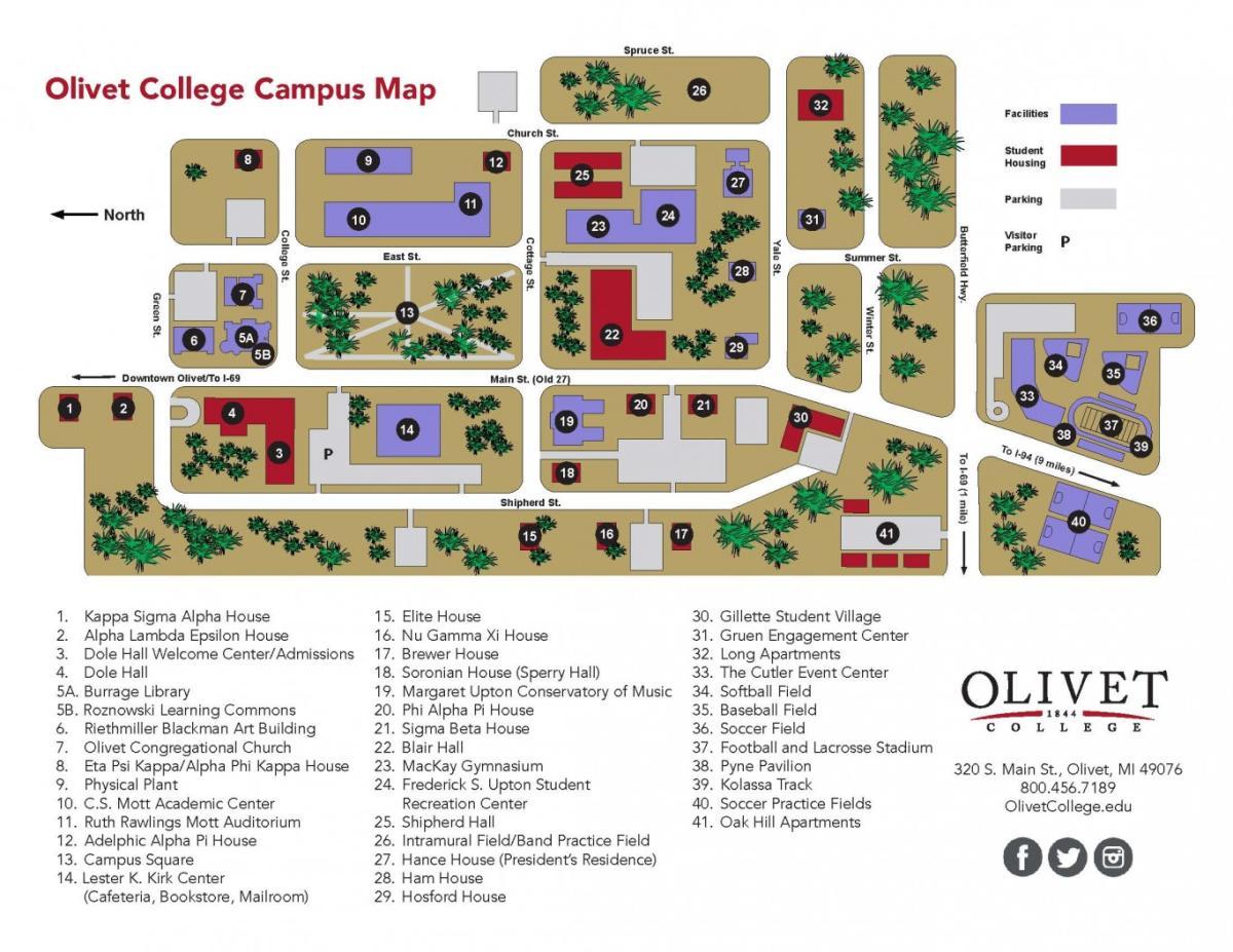 Olivet College Campus Map