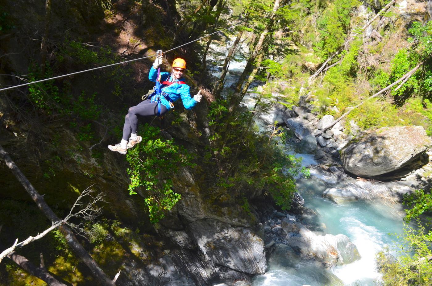 Lady ziplining in Glenorchy