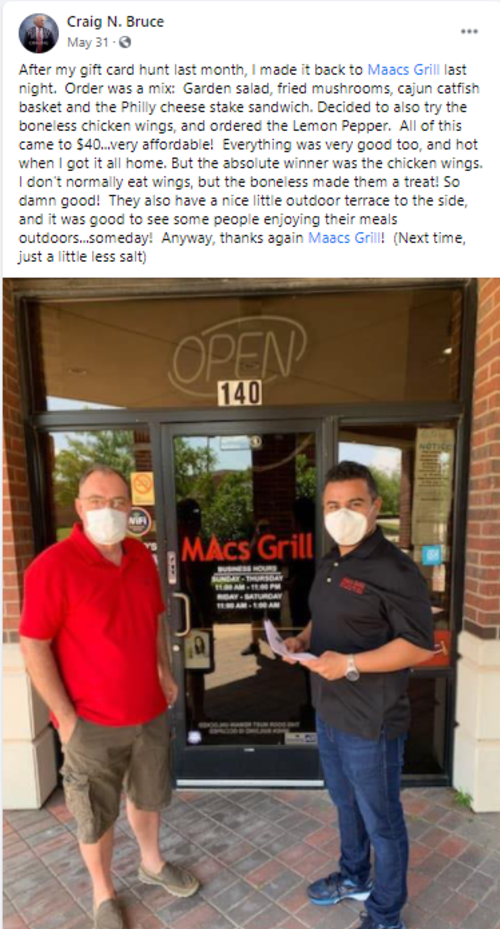 Facebook post about Maacs Grill in Irving, TX