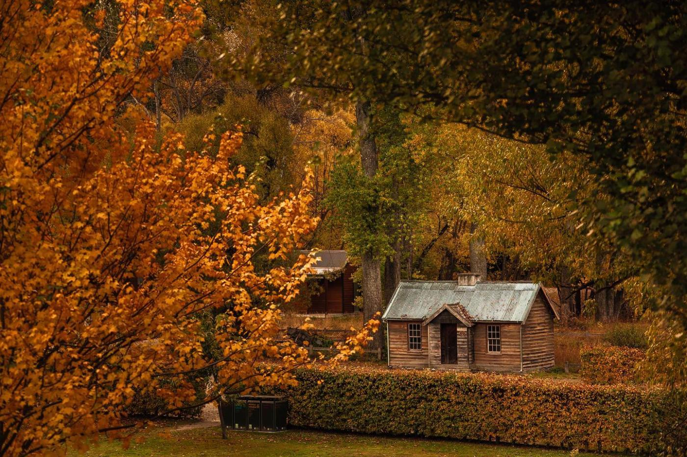 Police camp hut in autumn, Arrowtown