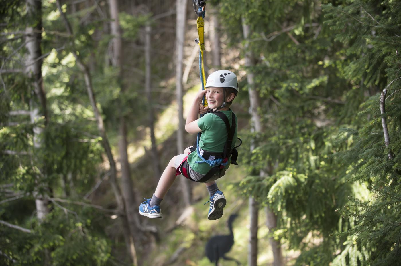 Young boy on ZipTrek Eco Tours Moa tour