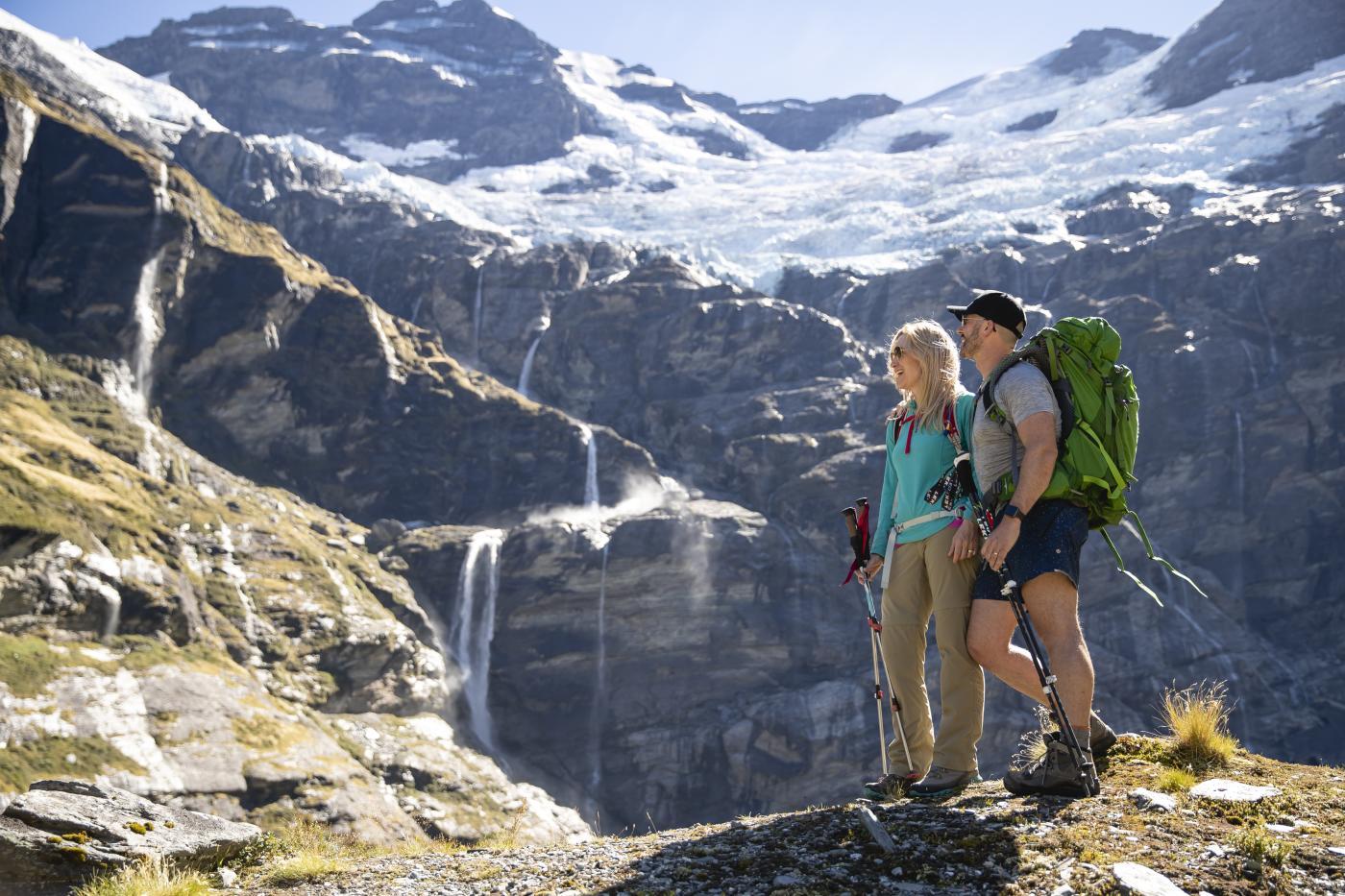 Couple hiking Earnslaw Burn