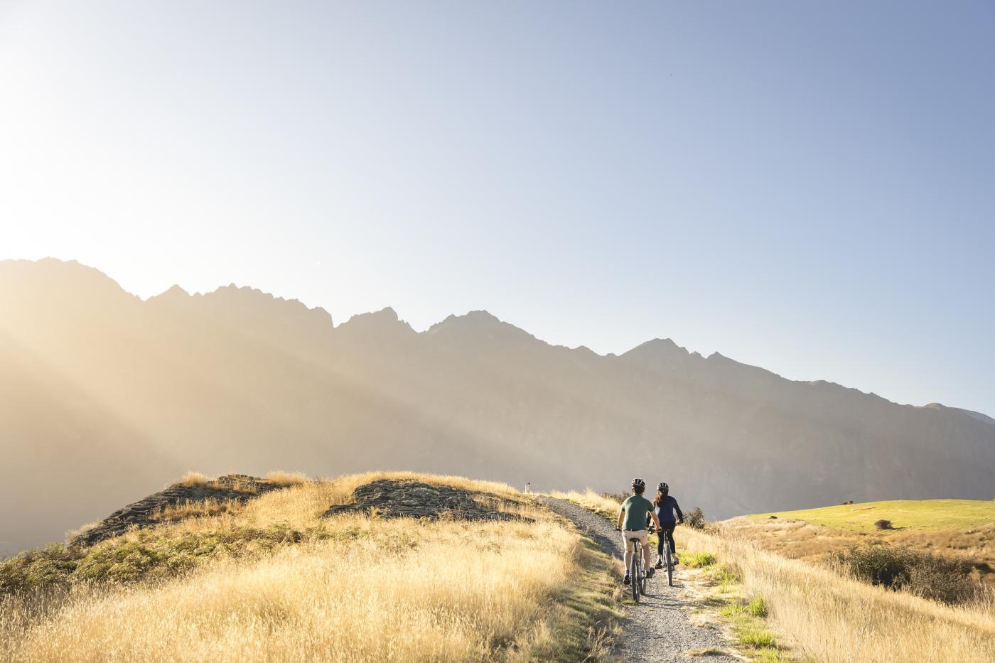 Couple Biking Along Jack's Point Trail