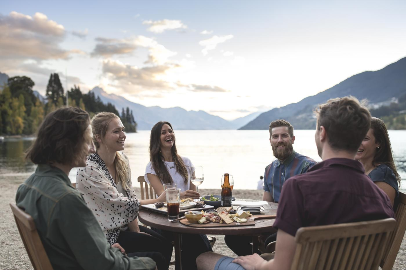 Summer Al Fresco dining with friends on Queenstown Bay