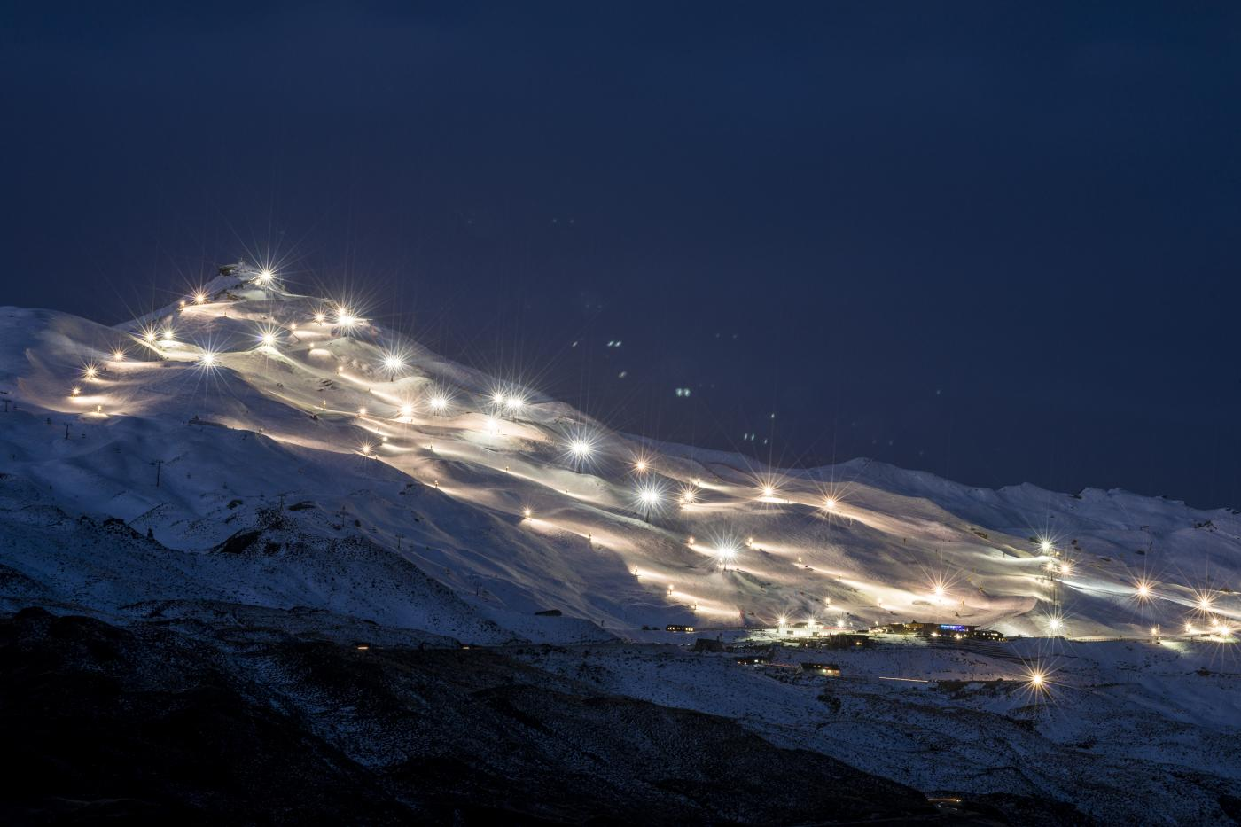 Floodlight slopes at Coronet Peak Night Ski